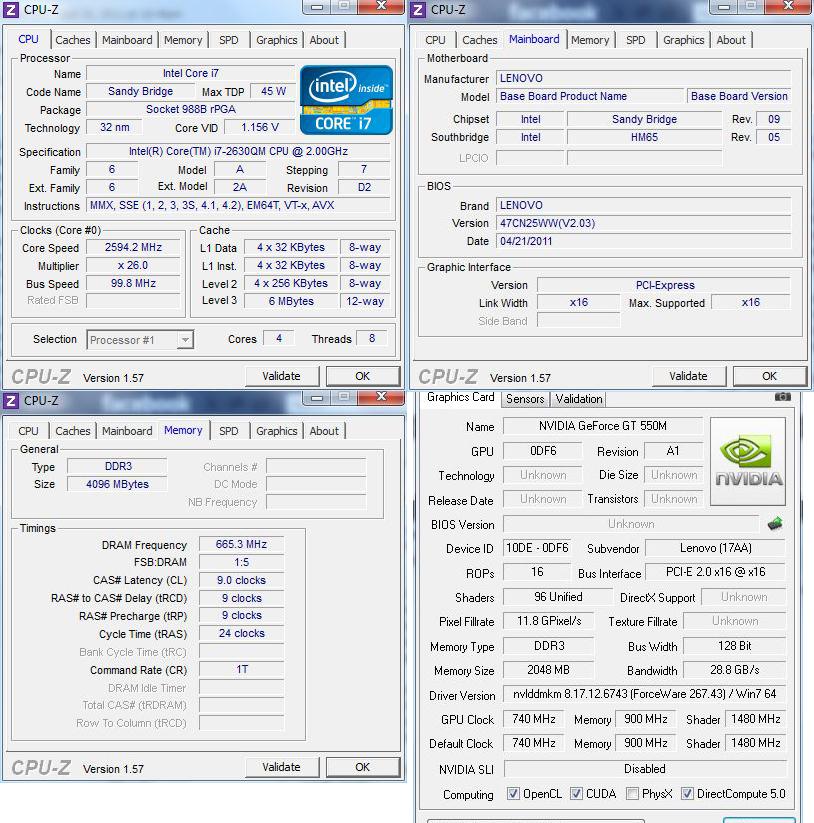 cpuz Review : Lenovo Ideapad Y570