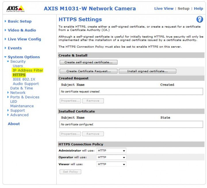 https Review : AXIS M1031 W CCTV IP Camera