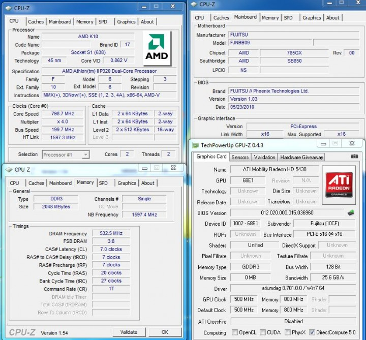 cpuz 720x669 Review : Fujitsu Lifebook LH520
