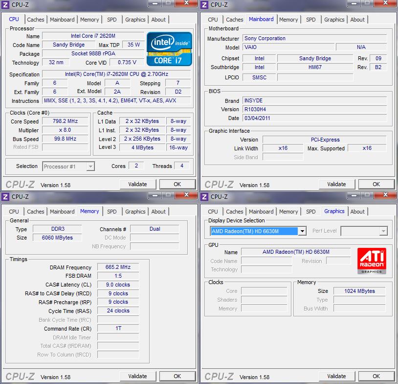cpuz Review : Sony VAIO SA (VPC SA25GH)