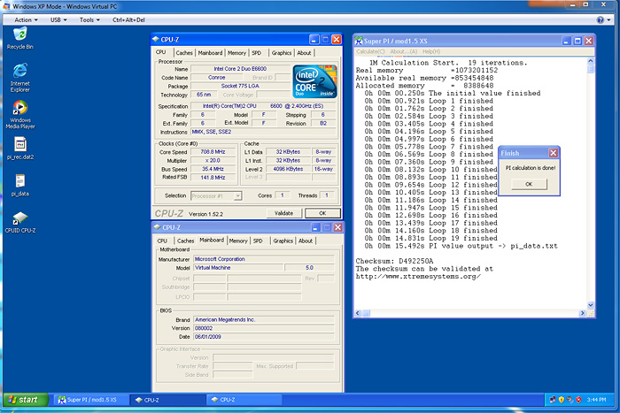 pi1m xpmode copy Windows 7 Final RTM: Review and Performance comparison