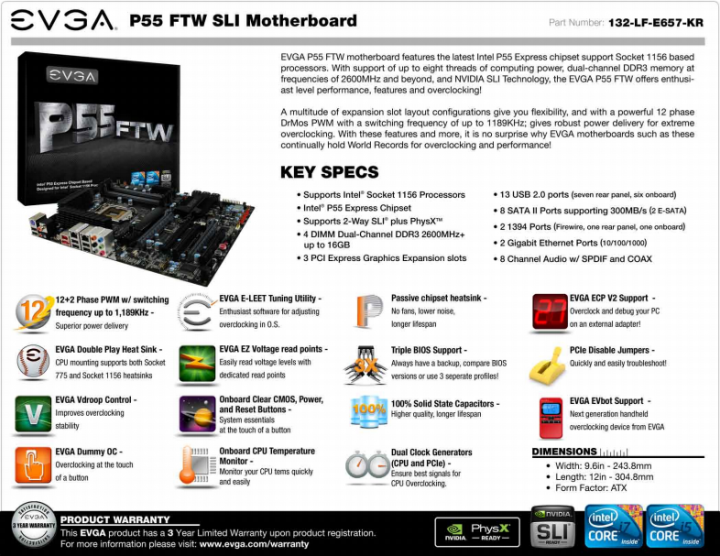 p55 ftw features 720x556 EVGA P55 FTW : REVIEW