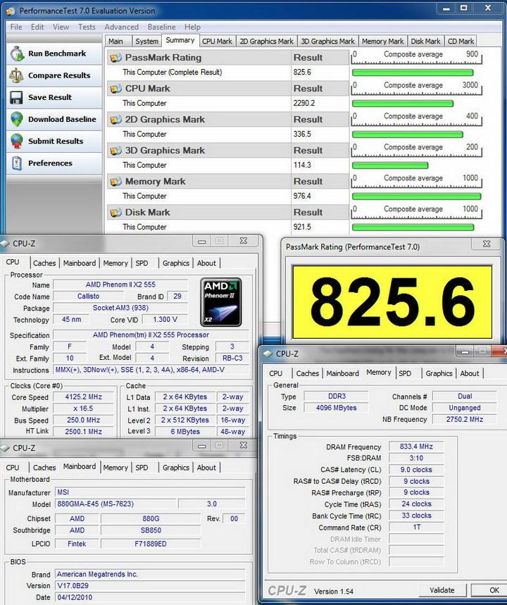 passmark 7 MSI 880GMA E45 Review