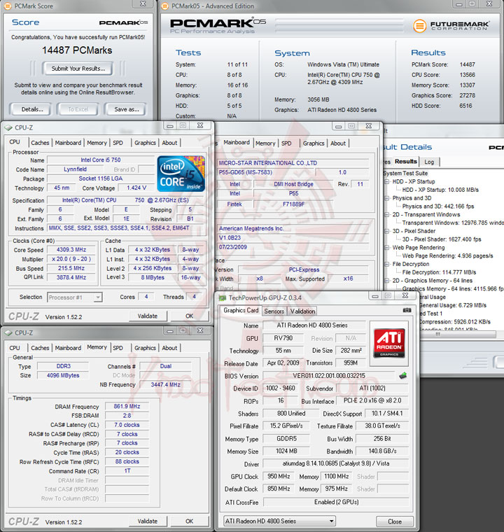 pcmark05 215 MSI P55 GD65   Overclock Results