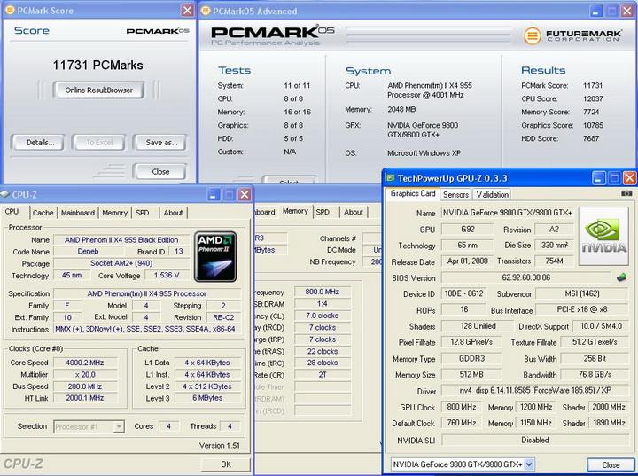 pcmark05 Phenom II955 VS  DFI DK 790 FXB M3H5