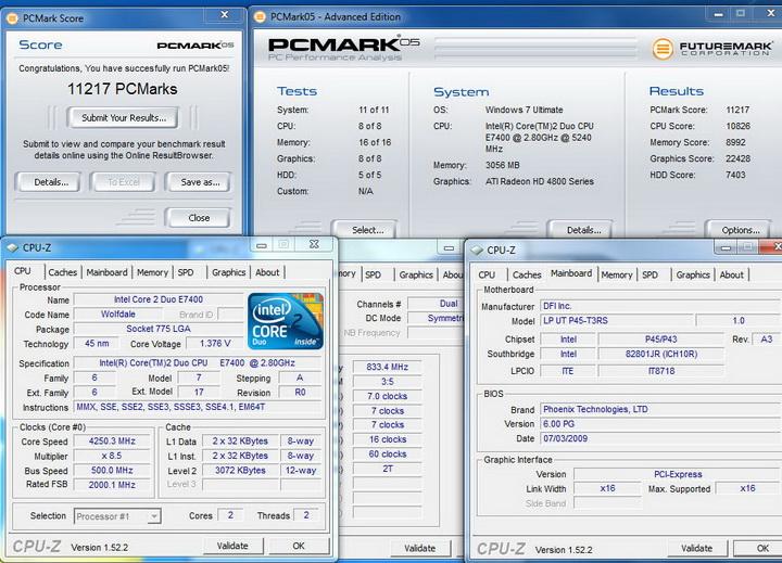 pcmark0510 DFI UT P45 T3RS
