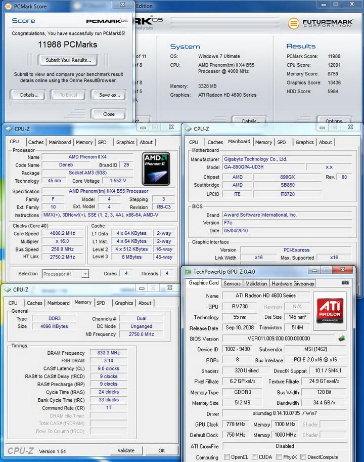pcmark0512 Gigabyte 890GPA UD3H  Unlock Core