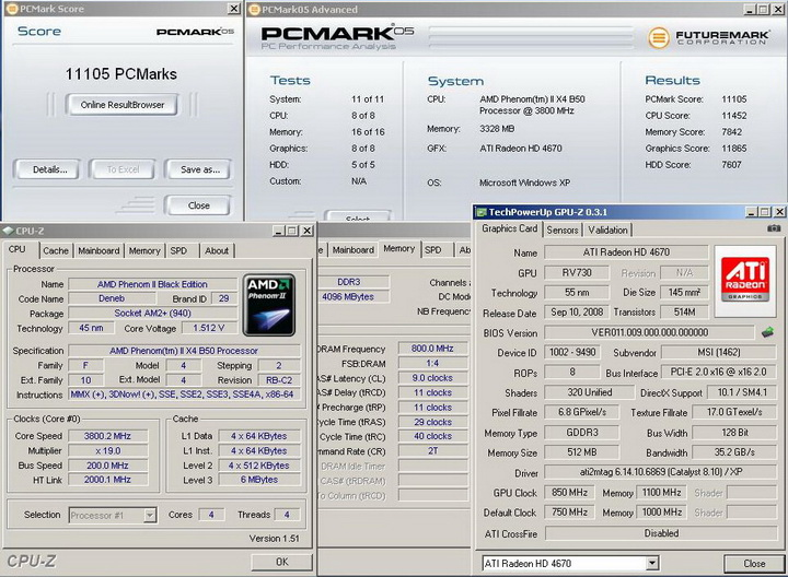 pcmark05r Phenom II X2 550BE VS Asrock M3A790GXH/128M 4 Core Test..