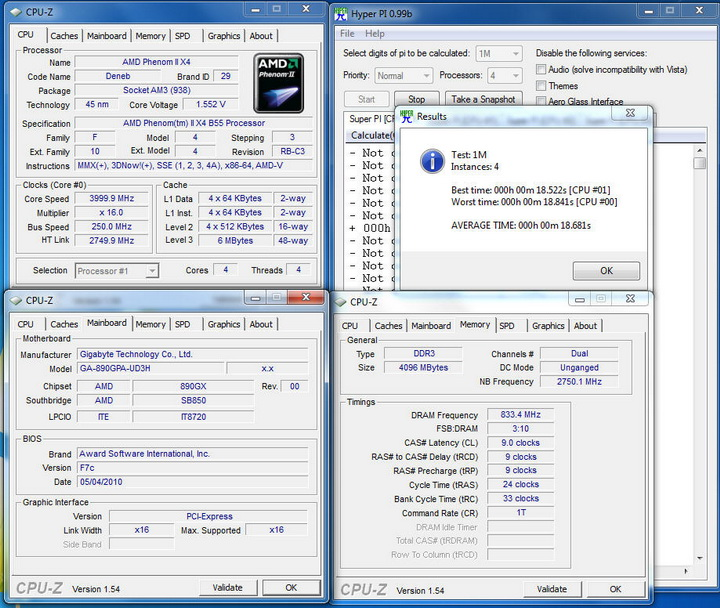 pi1m 4 core Gigabyte 890GPA UD3H  Unlock Core
