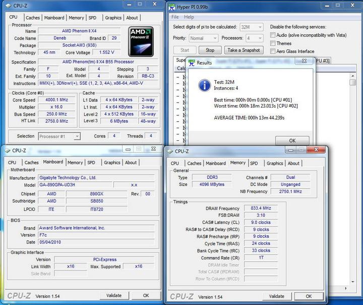 pi32 4 core Gigabyte 890GPA UD3H  Unlock Core
