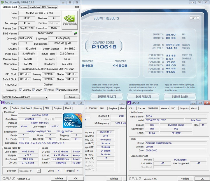 vantage default 1 EVGA GeForce GTS 450 1024GB GDDR5 Review