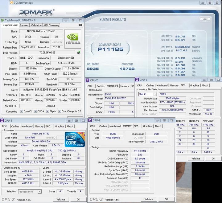 vantage default 1 GIGABYTE GEFORCE GTS450 1GB GDDR5