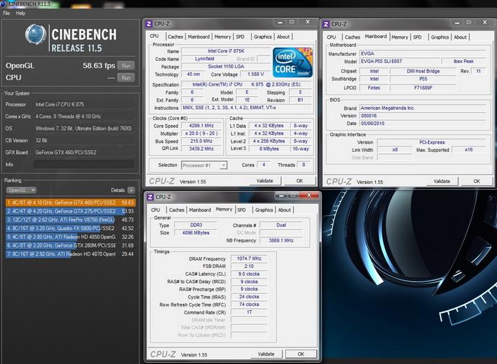 cinebench opengl 1 Intel i7 875K Unlocked Processor Unleashed Power