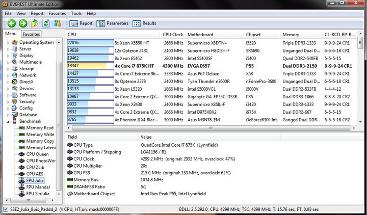 fpu julia 1 Intel i7 875K Unlocked Processor Unleashed Power