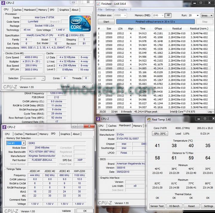 200x20 1 KINGMAX HERCULES DDR3 EP2 @ 2,400 MHz