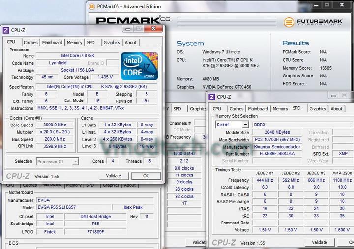 pcmark 05 1 KINGMAX HERCULES DDR3 EP2 @ 2,400 MHz