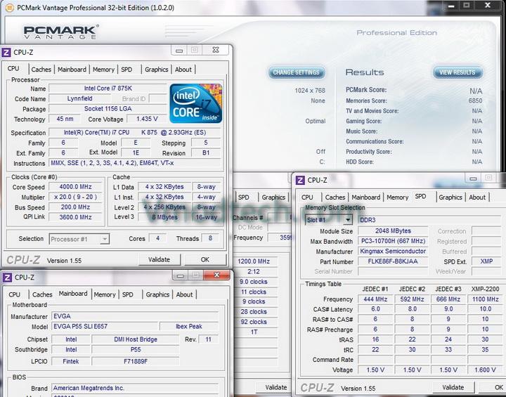 pcmark vantage 1 KINGMAX HERCULES DDR3 EP2 @ 2,400 MHz