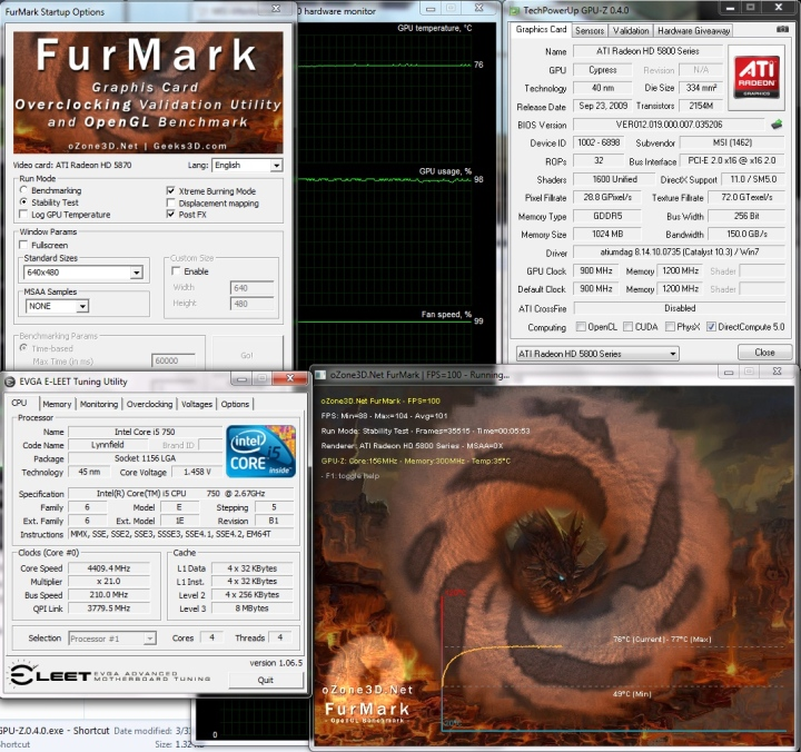 lightning default temp 1 MSI ATI Radeon R5870 LIGHTNING Review