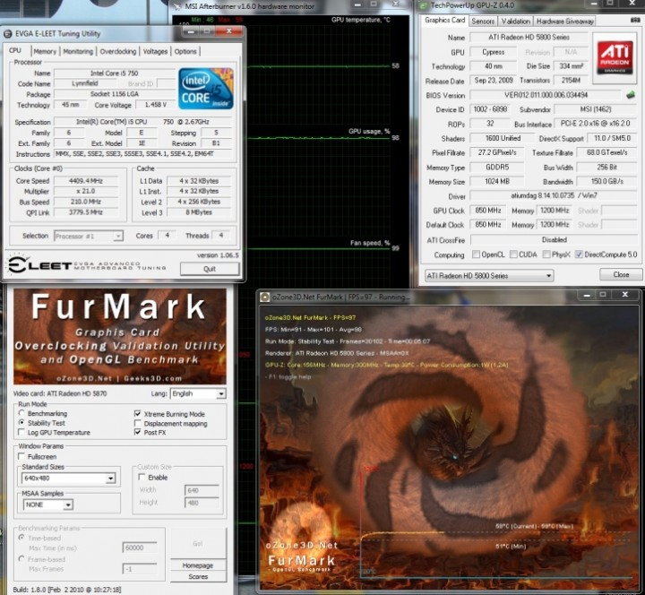 ref card default temp 1 720x664 MSI ATI Radeon R5870 LIGHTNING Review