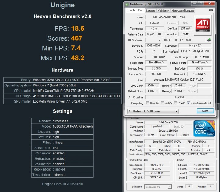 ungine oc 720x629 MSI ATI Radeon R5870 LIGHTNING Review