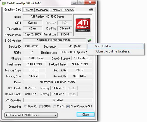 gpuz2 MSI ATI Radeon HD5870 Review