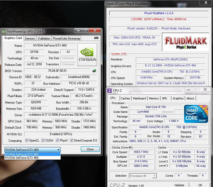 fluidmark 10 story Palit Geforce GTX460 1024MB SLI Overclock Test
