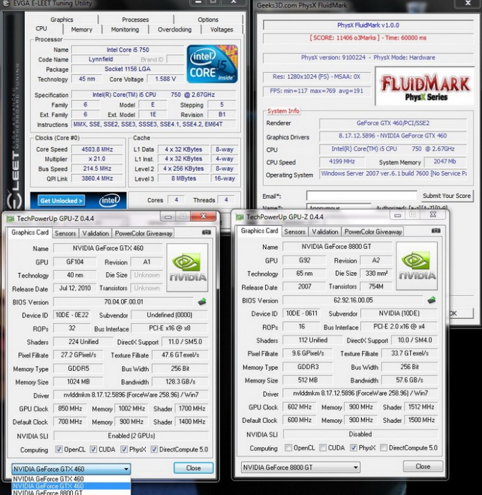 physx 700x720 Palit Geforce GTX460 1024MB SLI Overclock Test