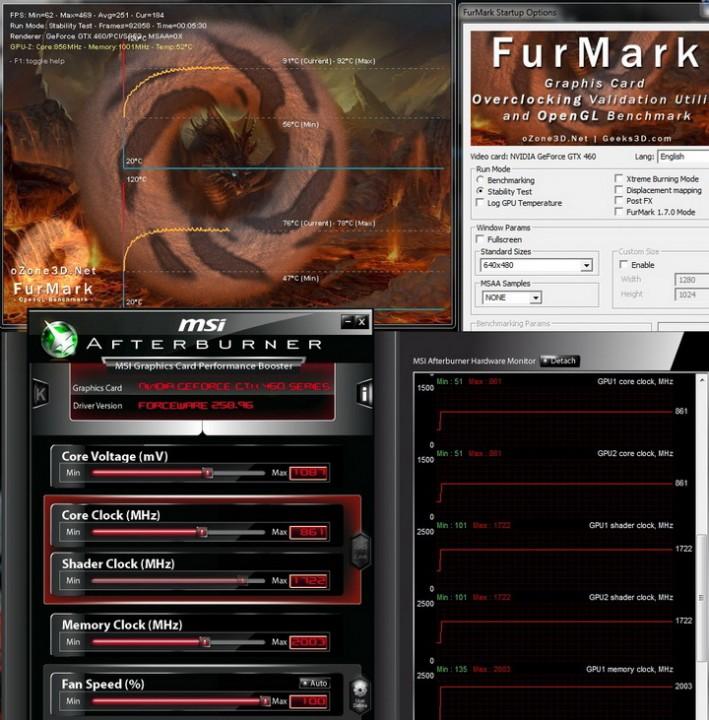 furmark story 709x720 Palit Geforce GTX460 1024MB SLI Overclock Test