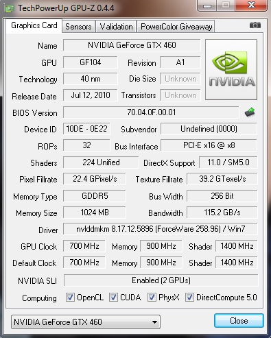 gpuz Palit Geforce GTX460 1024MB SLI Overclock Test