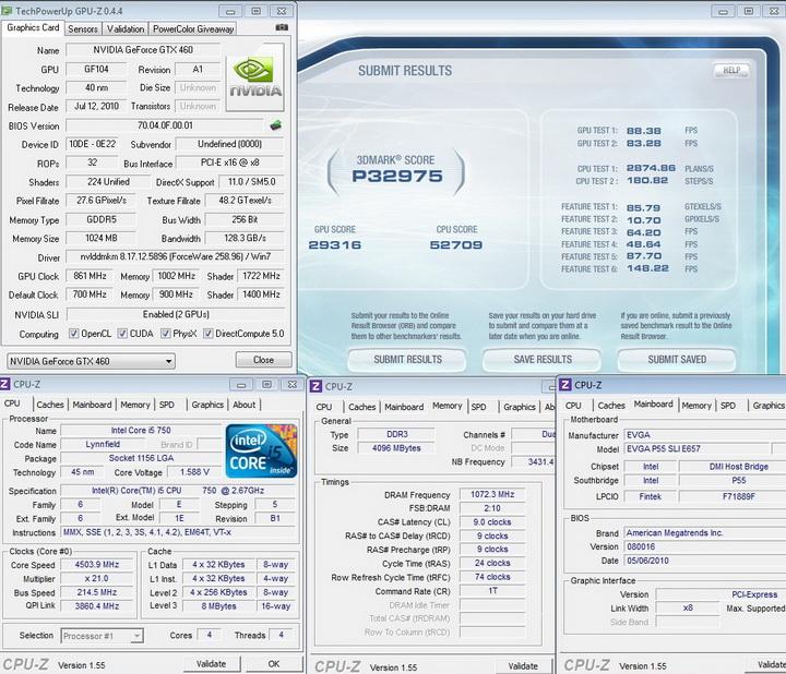 vantage story 1 Palit Geforce GTX460 1024MB SLI Overclock Test