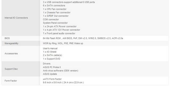 spec2 ASUS P7H55 M LX