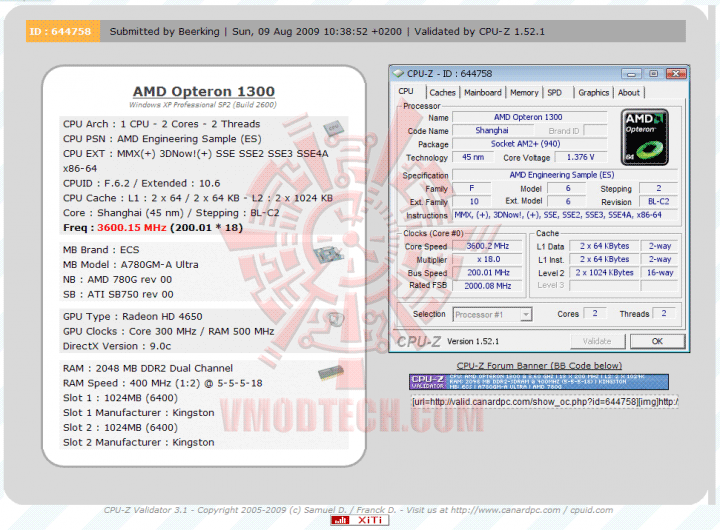 validate01 Athlon II X2 240 Unlock to Opteron 1300 Multiple X25 stable!!