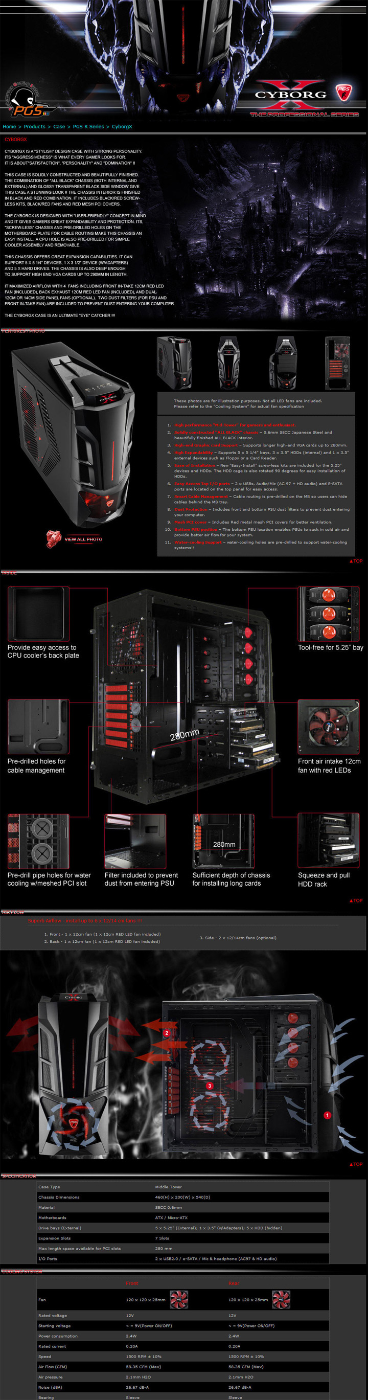 specification1 AeroCool CYBORGX Chassis Review
