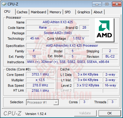 cpuz1 AMD Athlon II X3 425 Unlocks Core & L3 Cache Review