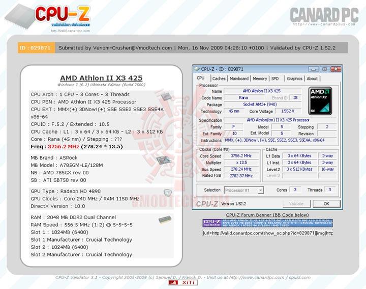 validatex3 AMD Athlon II X3 425 Unlocks Core & L3 Cache Review