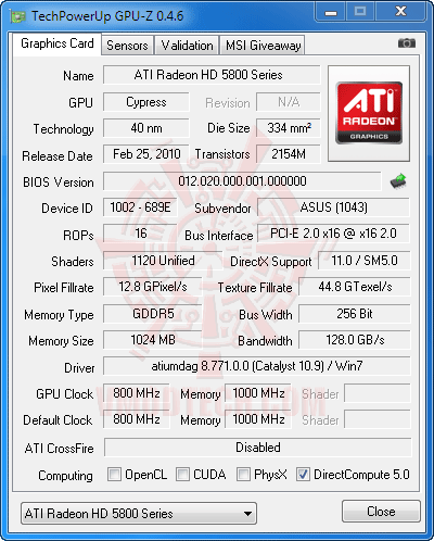 gz df ASUS EAH5830 DirectCU HD 5830 1GB GDDR5 Review