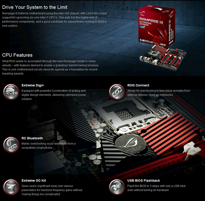spec1 ASUS RAMPAGE III EXTREME Motherboard Review