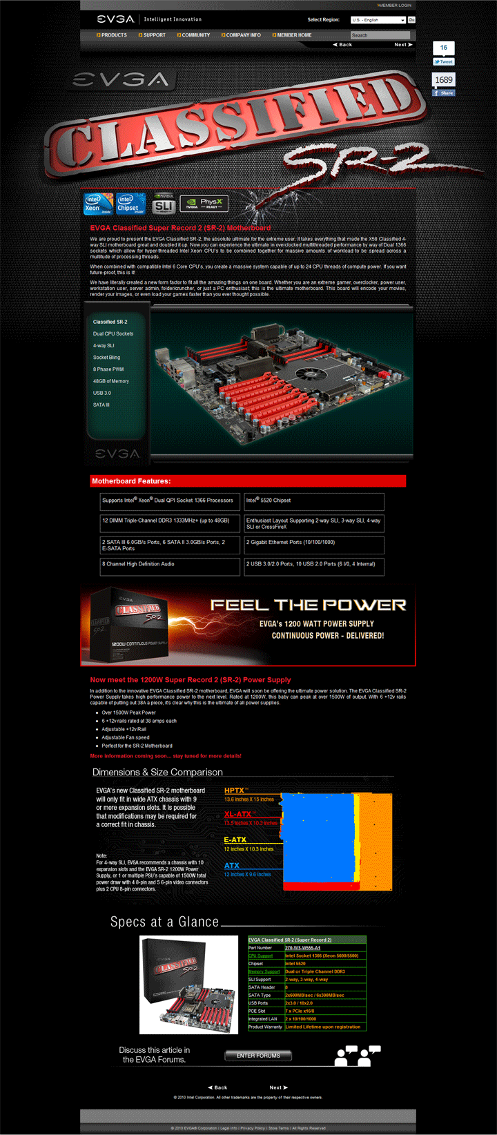spec EVGA Classified Super Record 2 (SR 2) Motherboard