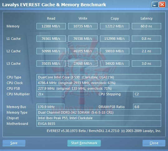 ev1 EVGA P55 SLI E655 + Core i3 530 : Review
