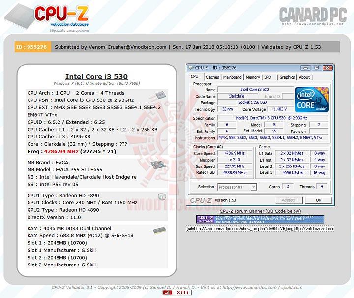 validate EVGA P55 SLI E655 + Core i3 530 : Review