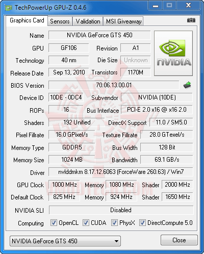 gz ov GALAXY GeForce GTS 450 GC VERSION 1GB GDDR5 Review