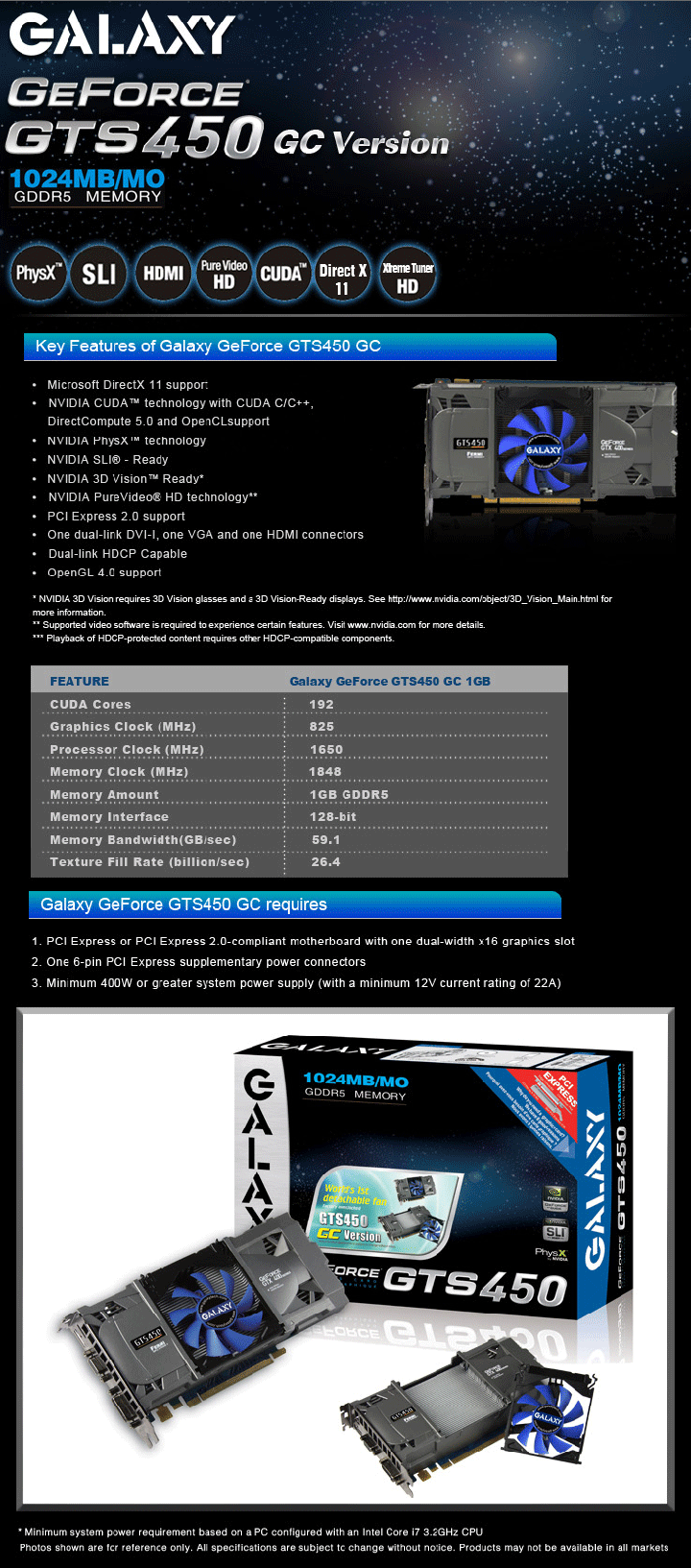 spec GALAXY GeForce GTS 450 GC VERSION 1GB GDDR5 Review