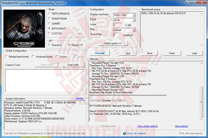 wh ov GALAXY GeForce GTX 465 1024MB GDDR5 Review