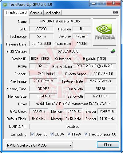 gpuz oc GIGABYTE GTX 285 1GB DDR3 Review