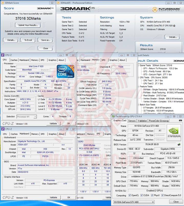 05 df GIGABYTE NVIDIA GeForce GTX 460 1024MB DDR5 SLI Review