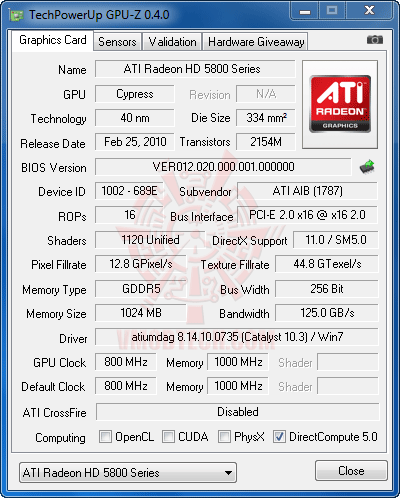 gpuz df HIS HD 5830 1GB DDR5 Review