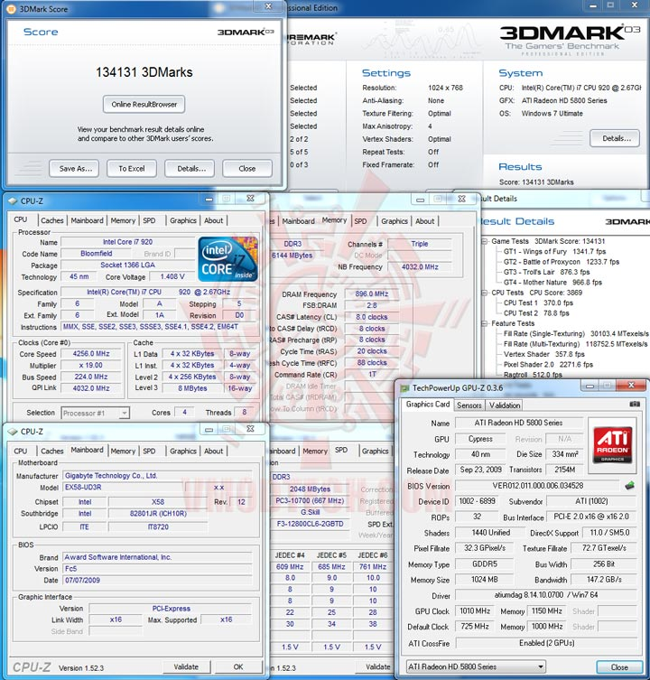 03cf 1010 HIS Radeon HD 5850 CrossfireX OVERCLOCK Results