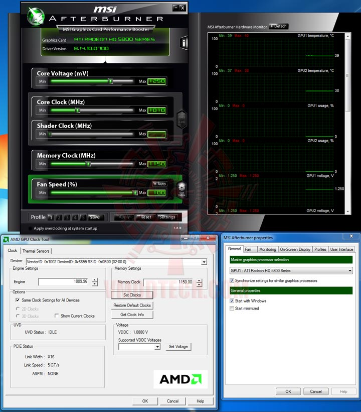 set HIS Radeon HD 5850 CrossfireX OVERCLOCK Results