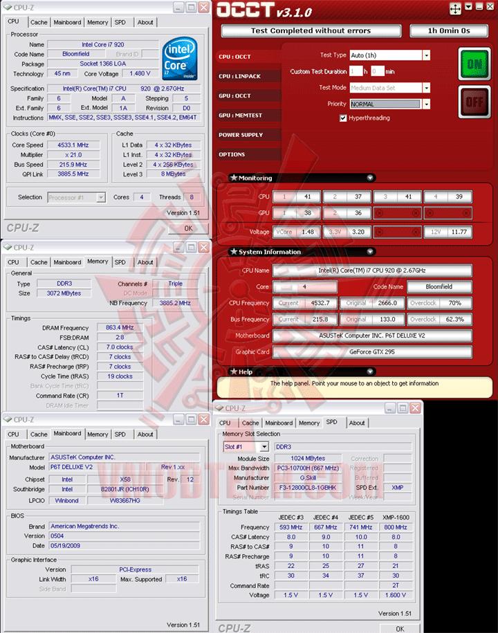 occt 216 ระเบิดพลังIntel® Core™ i7 920 REV. D0 ไปกับ Asus P6T Deluxe V2