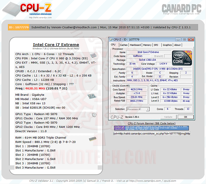 4620va Intel® Core™ i7 980X Extreme Edition Gulftown OC Report